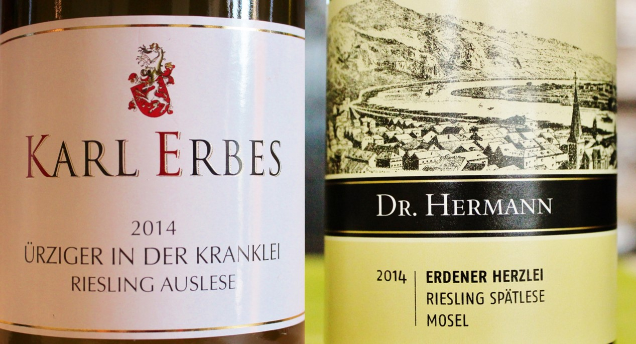 German Wine Label - Karl Erbes Ürziger in der Kranklei and Dr. Hermann Erdener Herzlei